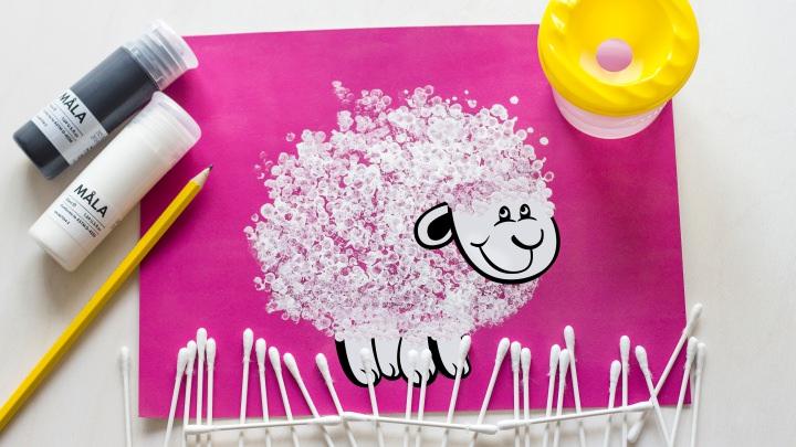 Как нарисовать барашка ватными палочками