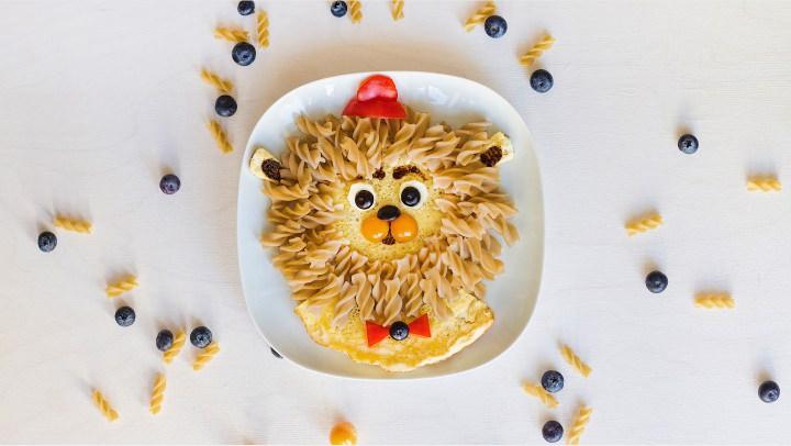 обед для детей оформление еды делаем льва