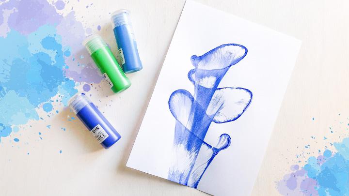Рисуем нитками и красками на бумаге