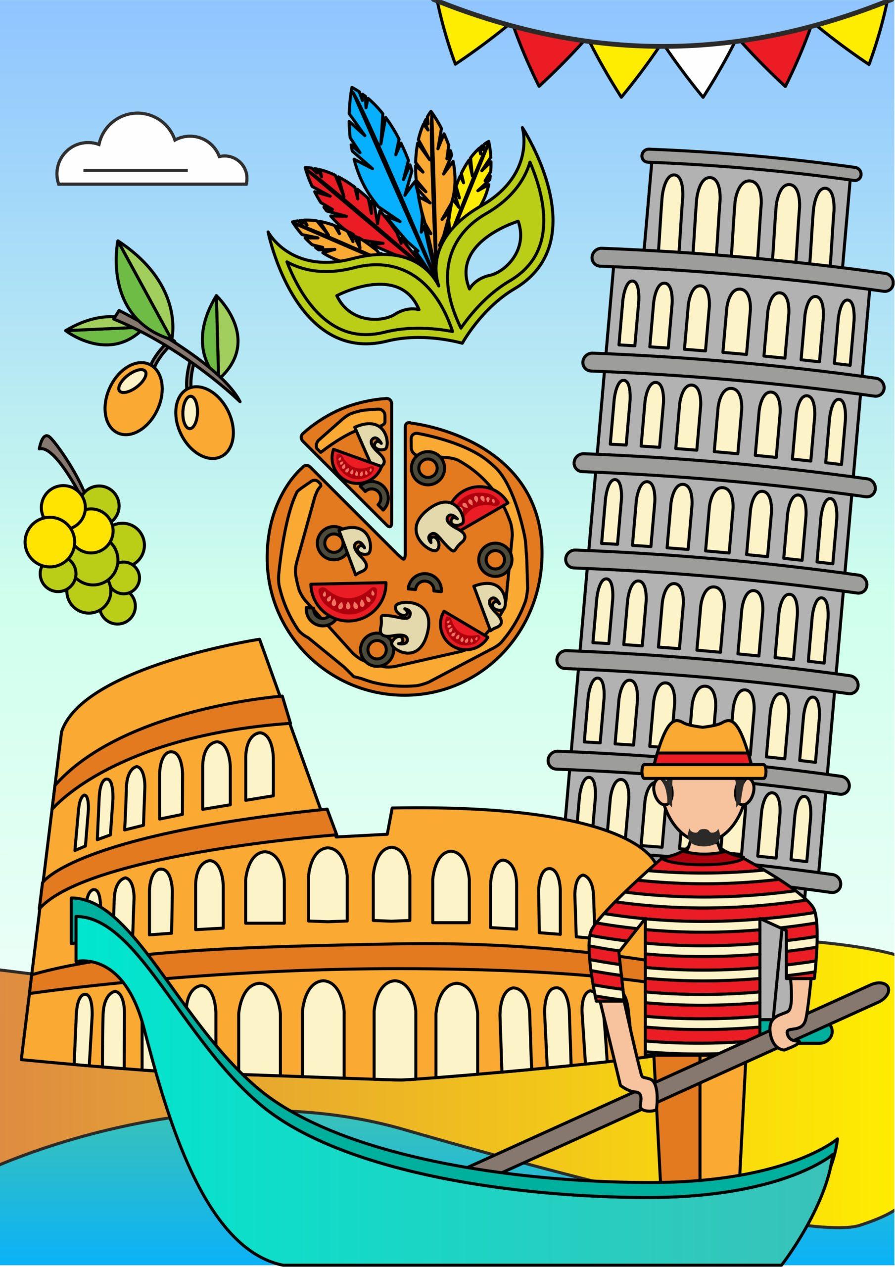 Познавательная раскраска «Италия»