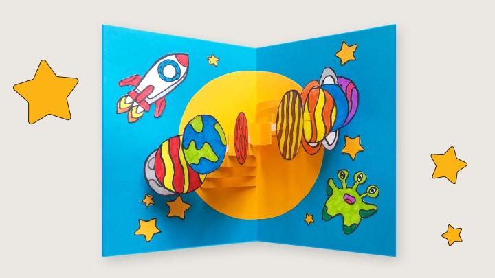 Pop-Up открытка «Космос»