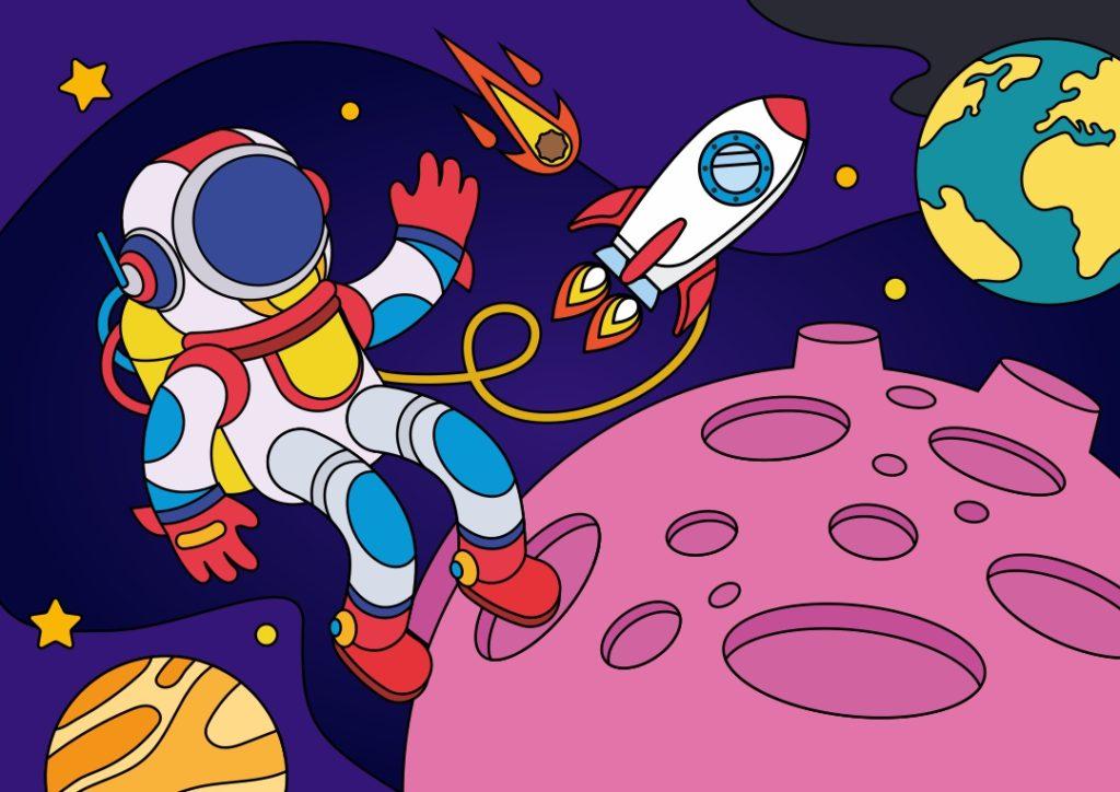 Познавательная раскраска «Полет ракеты»