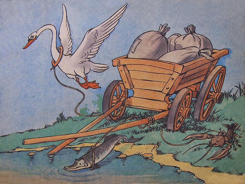 Басня «Лебедь, Рак и Щука»