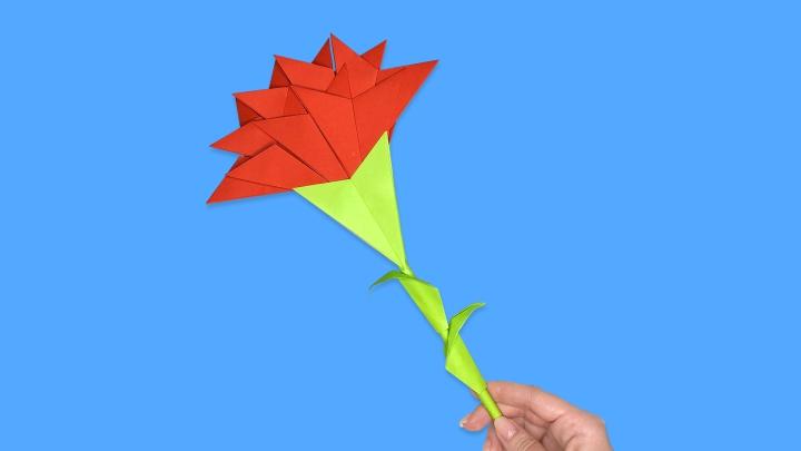 Гвоздика из бумаги своими руками / Цветок на День Победы