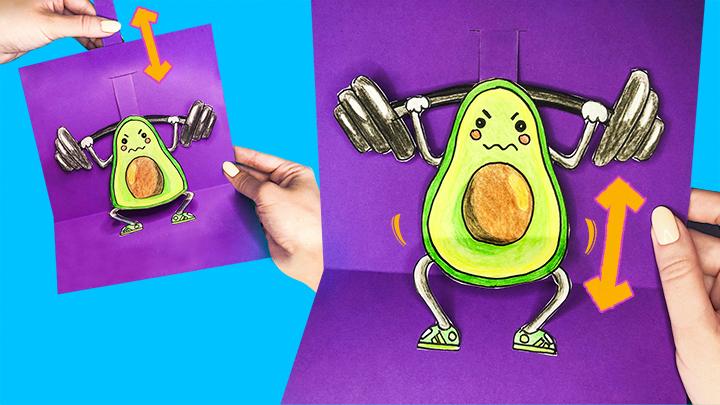 Открытка «Спортивный авокадо»